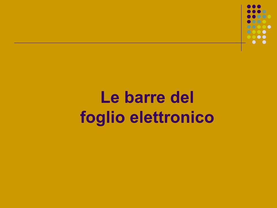 Per iniziare Foglio elettronico Dopo aver avviato Excel, il programma predispone una cartella di lavoro.