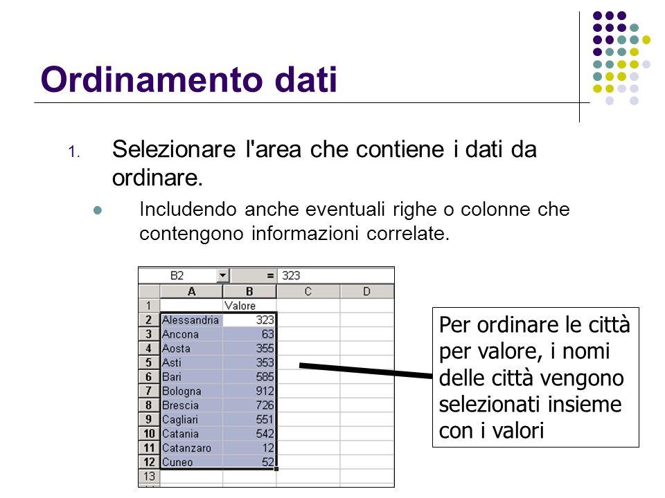 Ordinamento dati 1. Selezionare l'area che contiene i dati da ordinare. Includendo anche eventuali righe o colonne che contengono informazioni correla