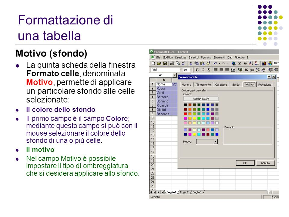 Motivo (sfondo) La quinta scheda della finestra Formato celle, denominata Motivo, permette di applicare un particolare sfondo alle celle selezionate: