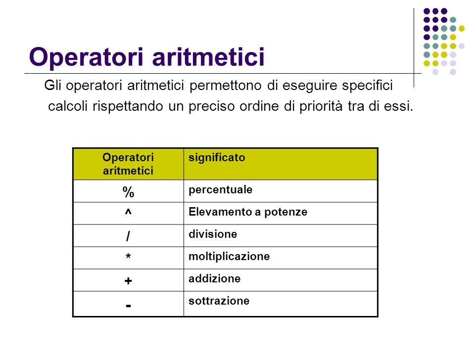 Operatori aritmetici Gli operatori aritmetici permettono di eseguire specifici calcoli rispettando un preciso ordine di priorità tra di essi. Operator