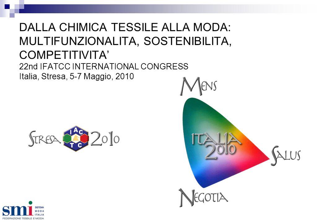 DALLA CHIMICA TESSILE ALLA MODA: MULTIFUNZIONALITA, SOSTENIBILITA, COMPETITIVITA 22nd IFATCC INTERNATIONAL CONGRESS Italia, Stresa, 5-7 Maggio, 2010