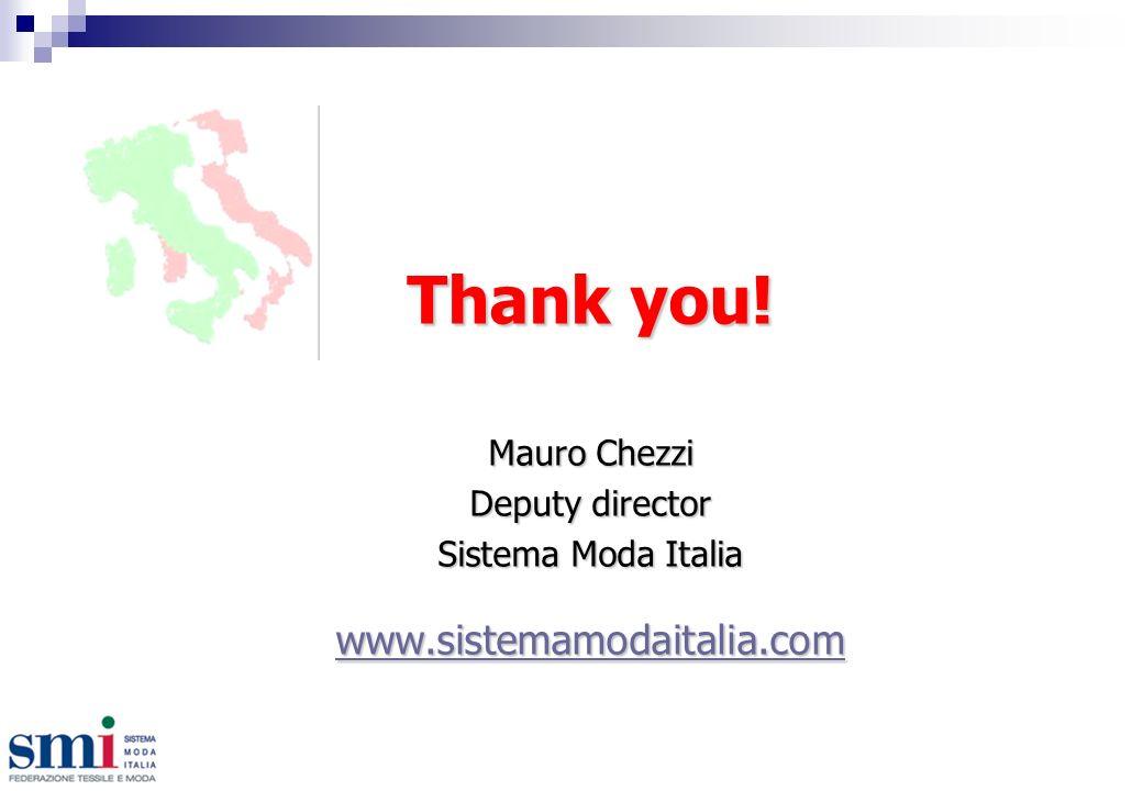 Thank you! Mauro Chezzi Deputy director Sistema Moda Italia www.sistemamodaitalia.com