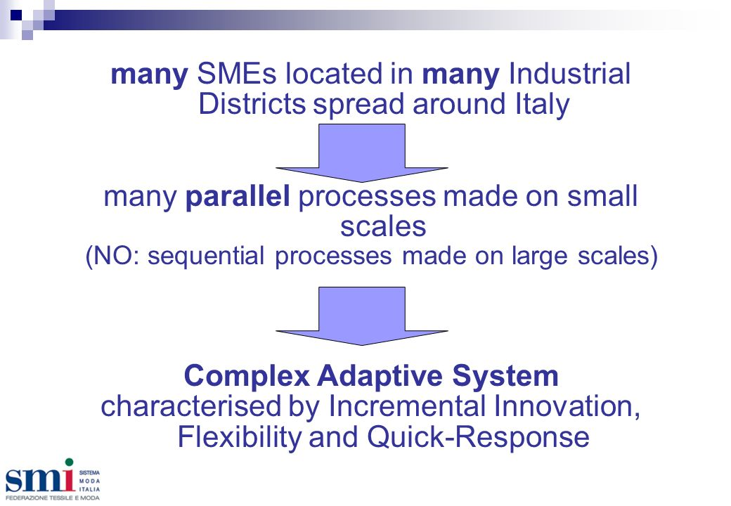 many SMEs located in many Industrial Districts spread around Italy many parallel processes made on small scales (NO: sequential processes made on large scales) Complex Adaptive System characterised by Incremental Innovation, Flexibility and Quick-Response