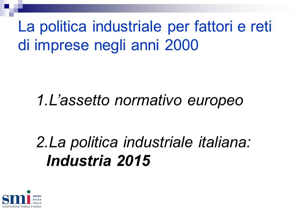La politica industriale per fattori e reti di imprese negli anni 2000 1.Lassetto normativo europeo 2.La politica industriale italiana: Industria 2015