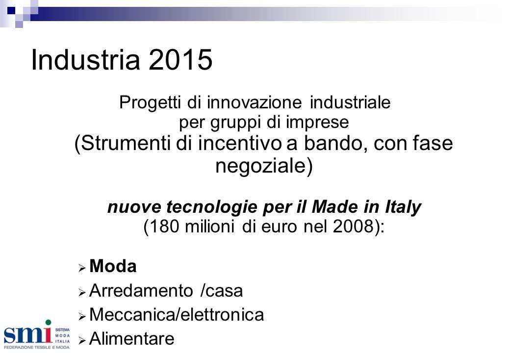Industria 2015 Progetti di innovazione industriale per gruppi di imprese (Strumenti di incentivo a bando, con fase negoziale) nuove tecnologie per il Made in Italy (180 milioni di euro nel 2008): Moda Arredamento /casa Meccanica/elettronica Alimentare