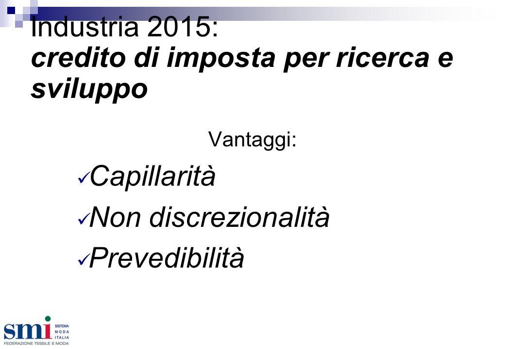 Industria 2015: credito di imposta per ricerca e sviluppo Vantaggi: Capillarità Non discrezionalità Prevedibilità