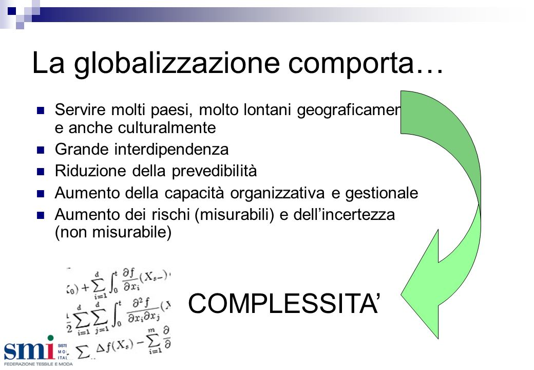 La globalizzazione comporta… Servire molti paesi, molto lontani geograficamente e anche culturalmente Grande interdipendenza Riduzione della prevedibilità Aumento della capacità organizzativa e gestionale Aumento dei rischi (misurabili) e dellincertezza (non misurabile) COMPLESSITA