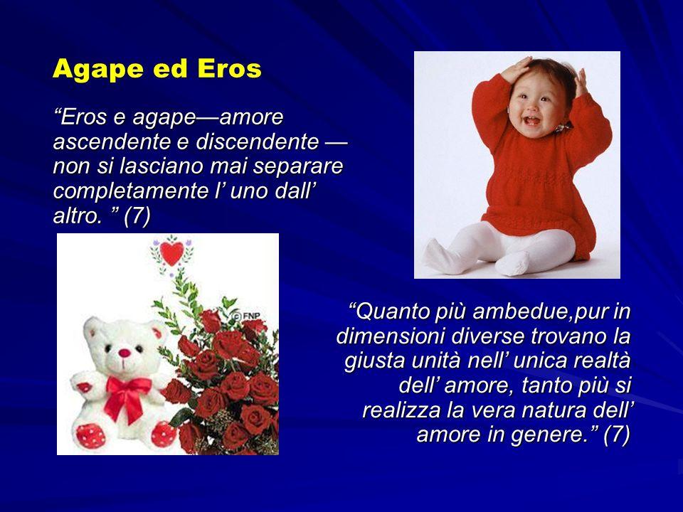 Eros e agapeamore ascendente e discendente non si lasciano mai separare completamente l uno dall altro. (7) Agape ed Eros Quanto più ambedue,pur in di