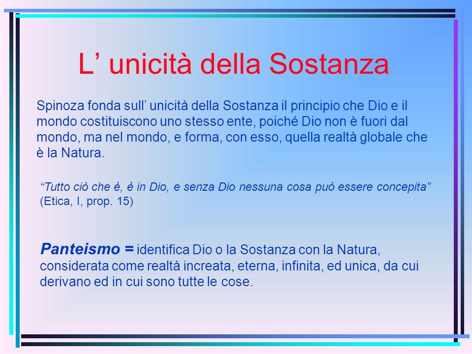 L unicità della Sostanza Spinoza fonda sull unicità della Sostanza il principio che Dio e il mondo costituiscono uno stesso ente, poiché Dio non è fuori dal mondo, ma nel mondo, e forma, con esso, quella realtà globale che è la Natura.