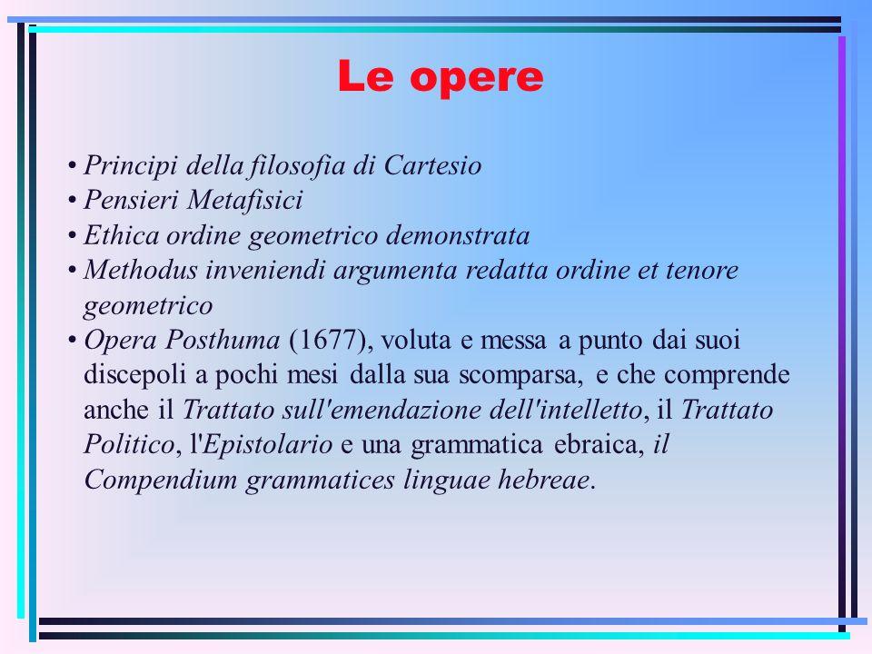 Le opere Principi della filosofia di Cartesio Pensieri Metafisici Ethica ordine geometrico demonstrata Methodus inveniendi argumenta redatta ordine et
