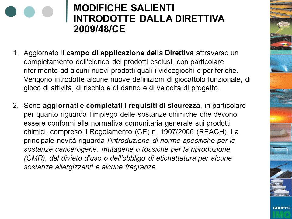 GRUPPO MODIFICHE SALIENTI INTRODOTTE DALLA DIRETTIVA 2009/48/CE 1.Aggiornato il campo di applicazione della Direttiva attraverso un completamento dell