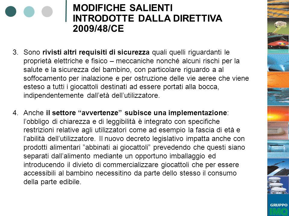 GRUPPO MODIFICHE SALIENTI INTRODOTTE DALLA DIRETTIVA 2009/48/CE 3.Sono rivisti altri requisiti di sicurezza quali quelli riguardanti le proprietà elet