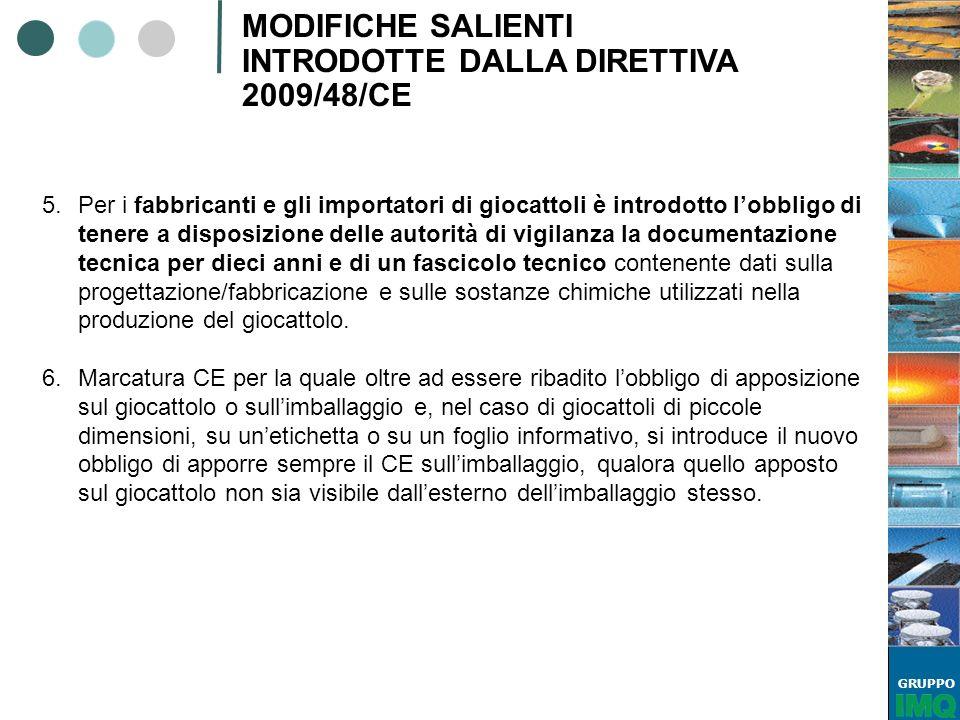 GRUPPO MODIFICHE SALIENTI INTRODOTTE DALLA DIRETTIVA 2009/48/CE 5.Per i fabbricanti e gli importatori di giocattoli è introdotto lobbligo di tenere a
