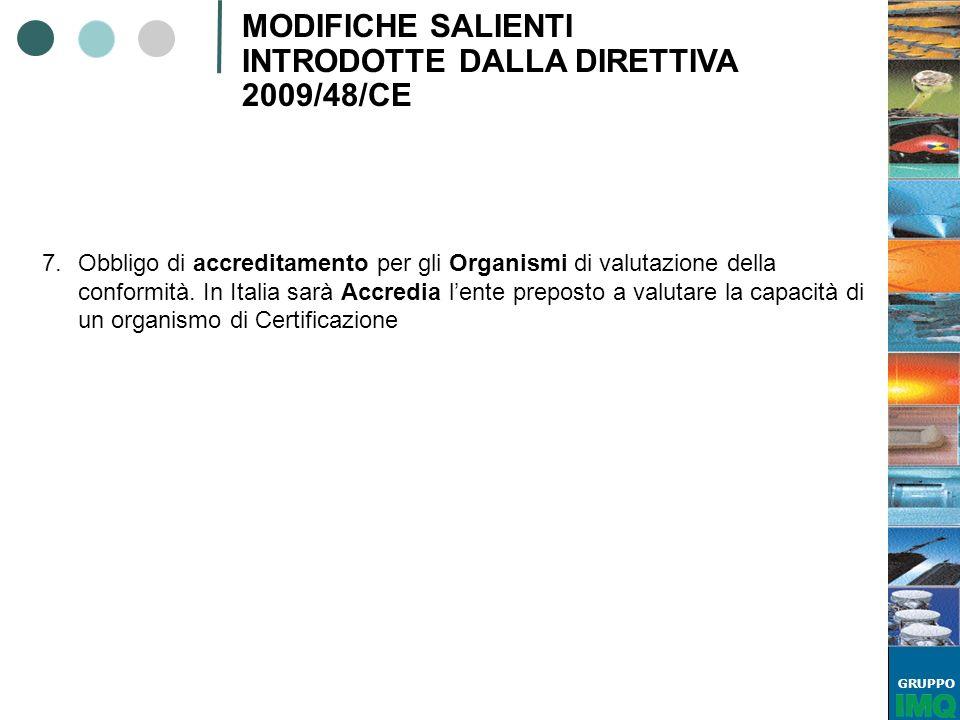 GRUPPO MODIFICHE SALIENTI INTRODOTTE DALLA DIRETTIVA 2009/48/CE 7.Obbligo di accreditamento per gli Organismi di valutazione della conformità. In Ital