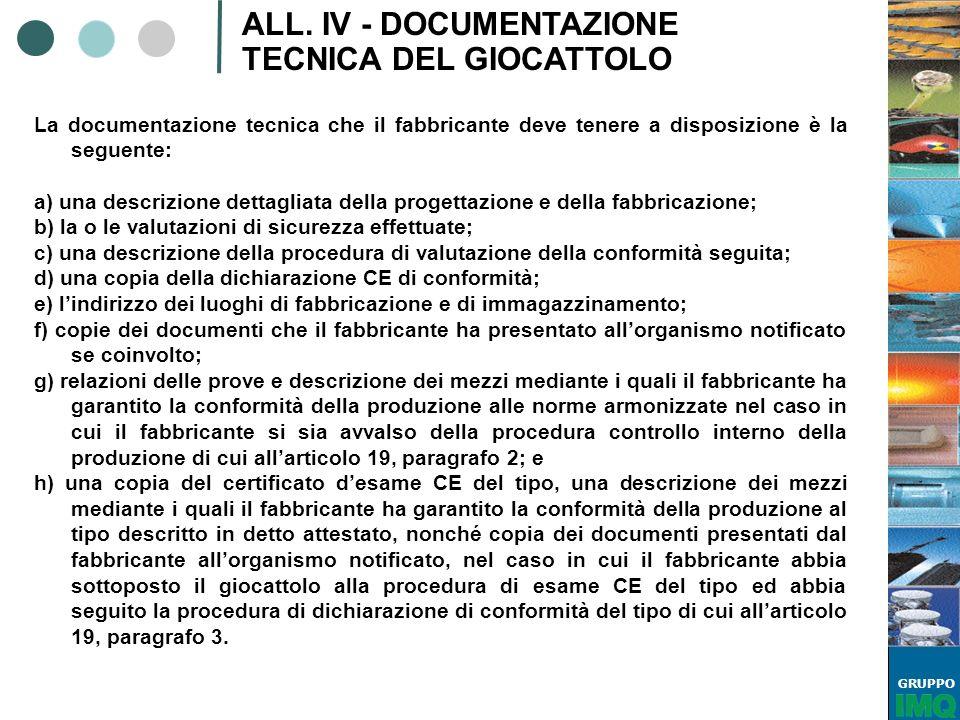 GRUPPO ALL. IV - DOCUMENTAZIONE TECNICA DEL GIOCATTOLO La documentazione tecnica che il fabbricante deve tenere a disposizione è la seguente: a) una d