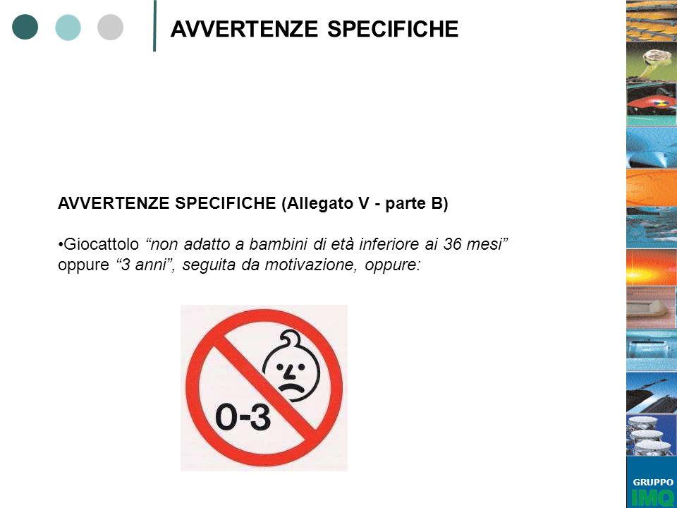GRUPPO AVVERTENZE SPECIFICHE AVVERTENZE SPECIFICHE (Allegato V - parte B) Giocattolo non adatto a bambini di età inferiore ai 36 mesi oppure 3 anni, s