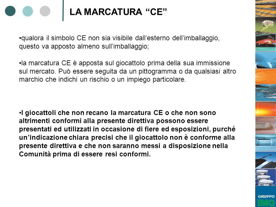GRUPPO LA MARCATURA CE qualora il simbolo CE non sia visibile dallesterno dellimballaggio, questo va apposto almeno sullimballaggio; la marcatura CE è