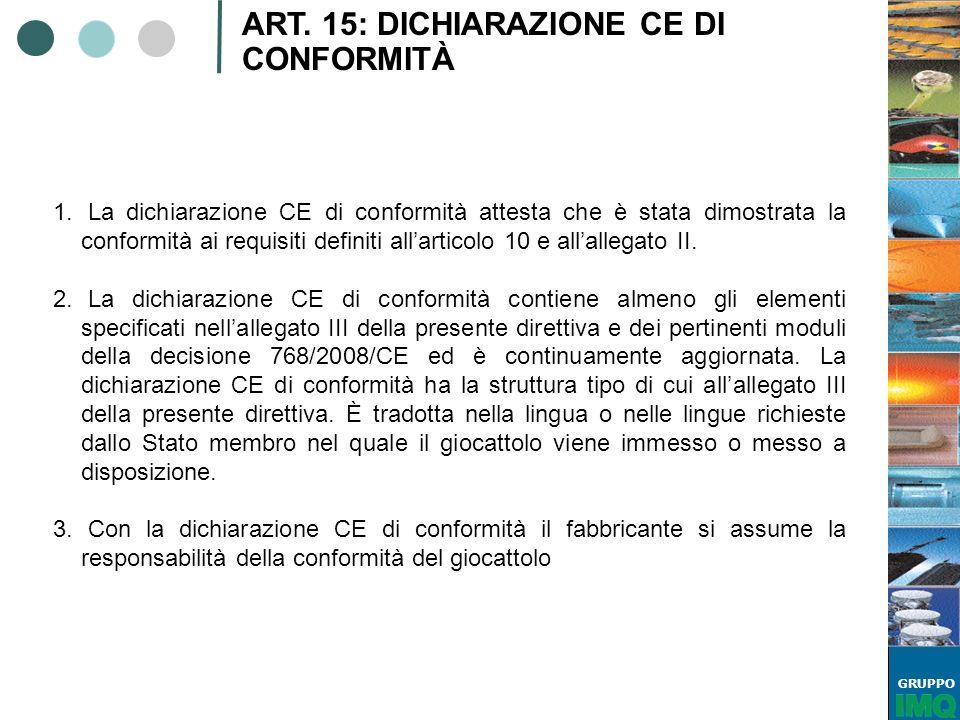 GRUPPO ART. 15: DICHIARAZIONE CE DI CONFORMITÀ 1. La dichiarazione CE di conformità attesta che è stata dimostrata la conformità ai requisiti definiti