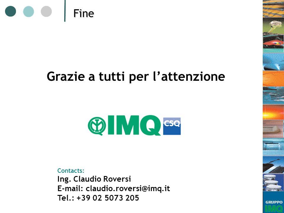 GRUPPOFine Grazie a tutti per lattenzione Contacts: Ing. Claudio Roversi E-mail: claudio.roversi@imq.it Tel.: +39 02 5073 205