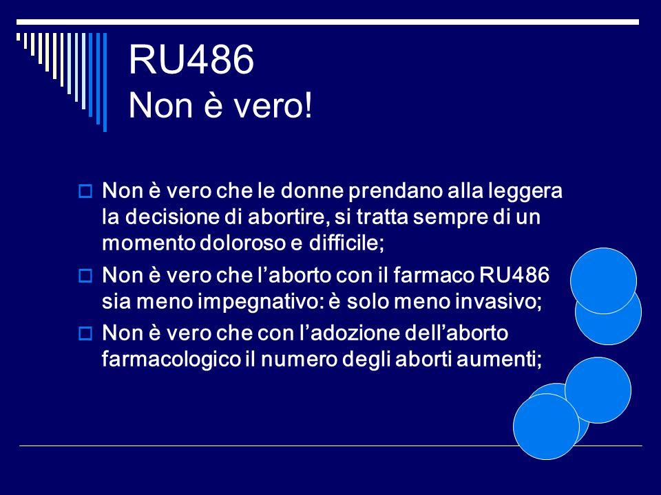 RU486 Non è vero! Non è vero che le donne prendano alla leggera la decisione di abortire, si tratta sempre di un momento doloroso e difficile; Non è v