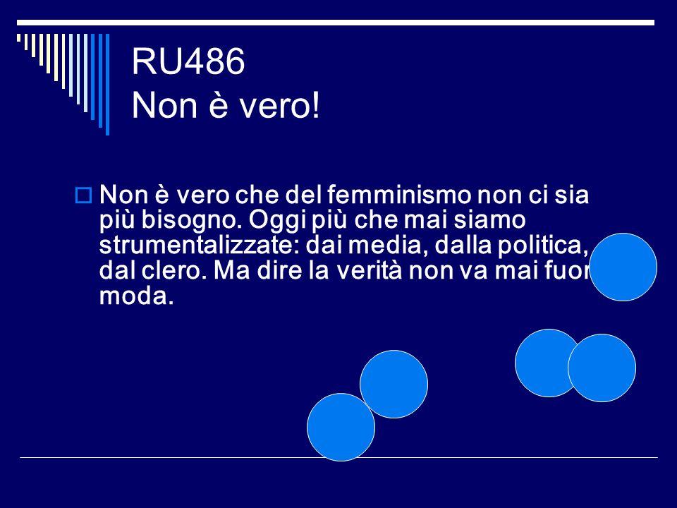 RU486 Non è vero! Non è vero che del femminismo non ci sia più bisogno. Oggi più che mai siamo strumentalizzate: dai media, dalla politica, dal clero.