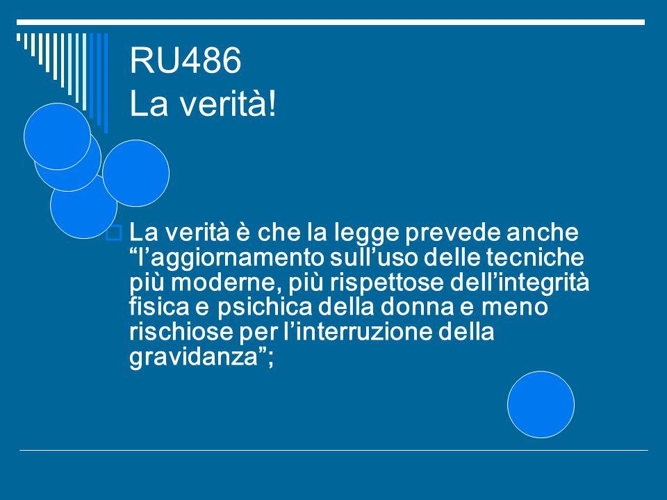 RU486 La verità! La verità è che la legge prevede anche laggiornamento sulluso delle tecniche più moderne, più rispettose dellintegrità fisica e psich
