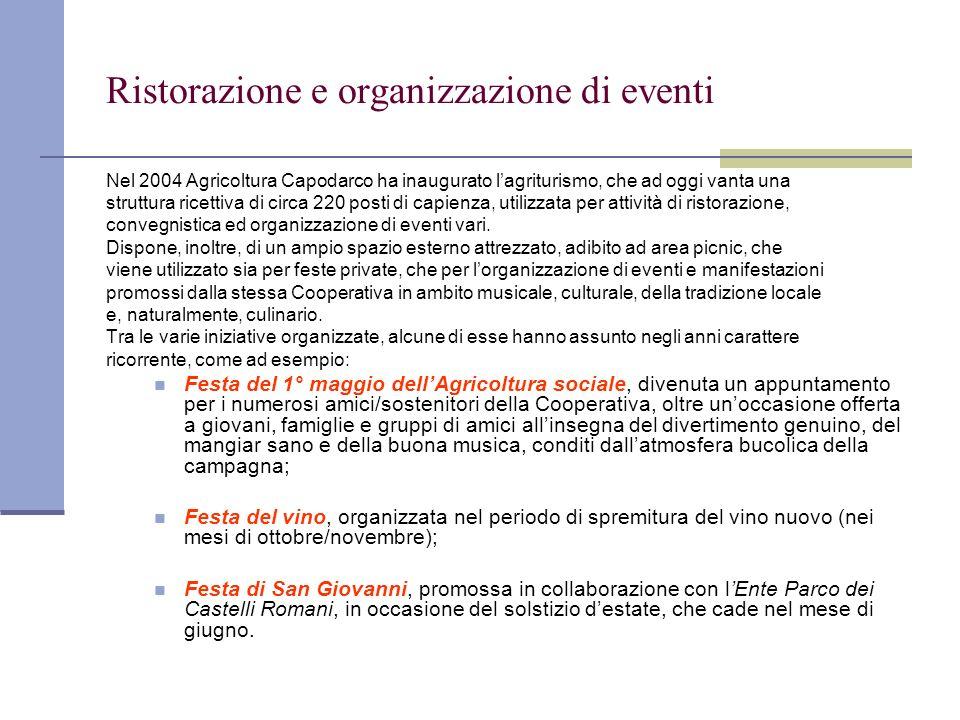 Ristorazione e organizzazione di eventi Nel 2004 Agricoltura Capodarco ha inaugurato lagriturismo, che ad oggi vanta una struttura ricettiva di circa