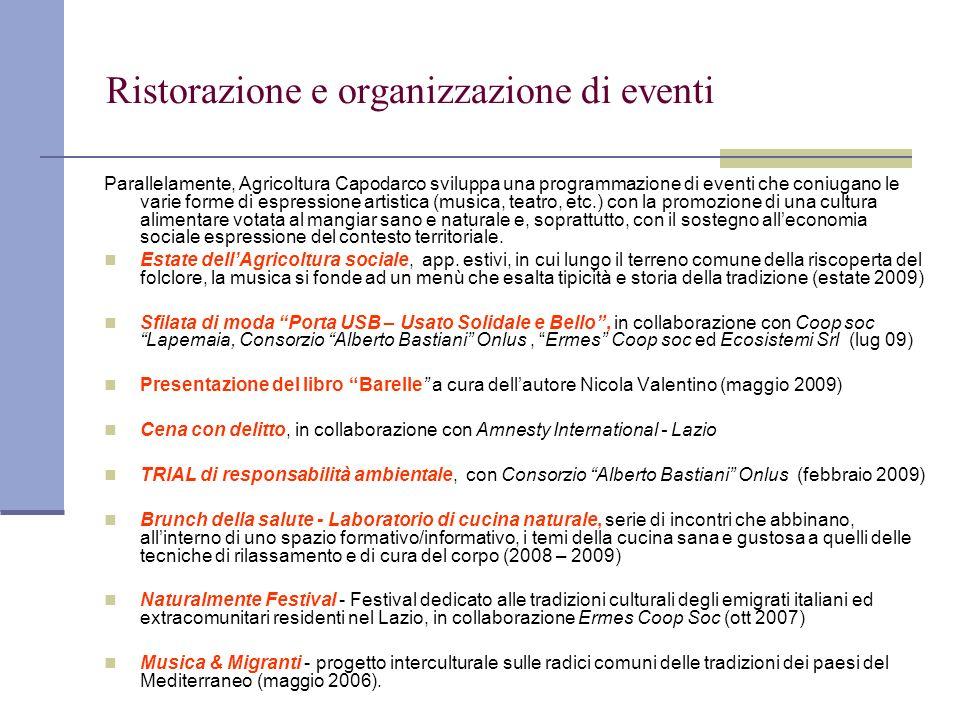 Ristorazione e organizzazione di eventi Parallelamente, Agricoltura Capodarco sviluppa una programmazione di eventi che coniugano le varie forme di es