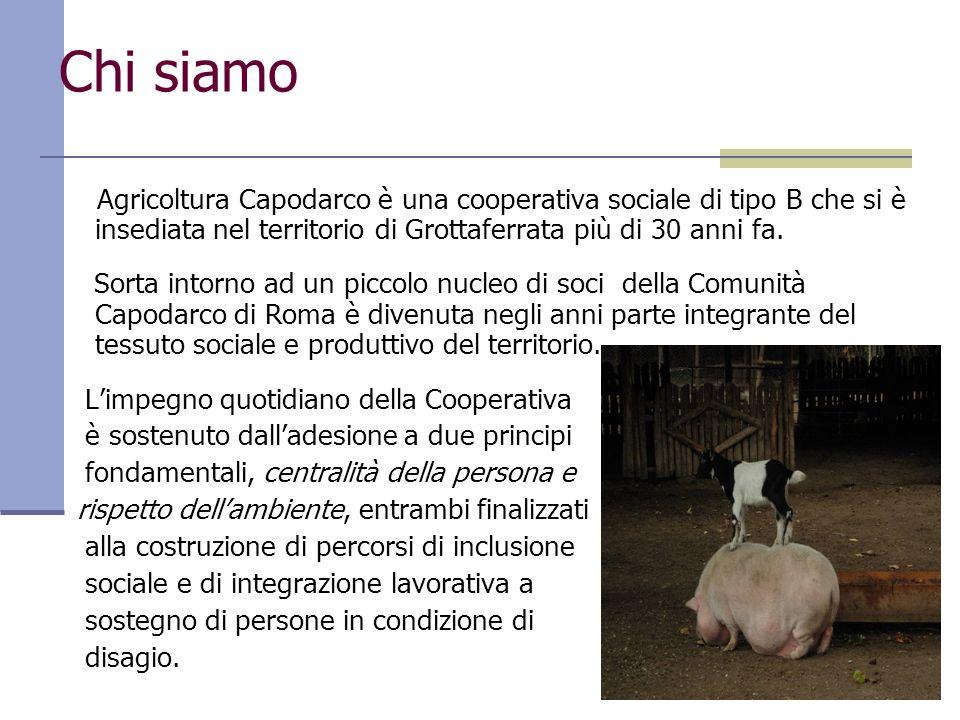 Chi siamo Agricoltura Capodarco è una cooperativa sociale di tipo B che si è insediata nel territorio di Grottaferrata più di 30 anni fa. Sorta intorn