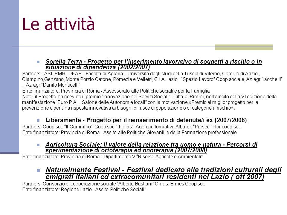 Le attività Sorella Terra - Progetto per linserimento lavorativo di soggetti a rischio o in situazione di dipendenza (2002/2007) Partners: ASL RMH, DE