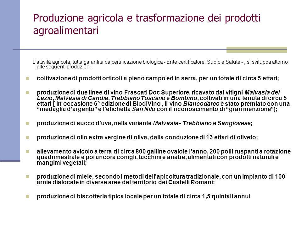 Produzione agricola e trasformazione dei prodotti agroalimentari Lattività agricola, tutta garantita da certificazione biologica - Ente certificatore: