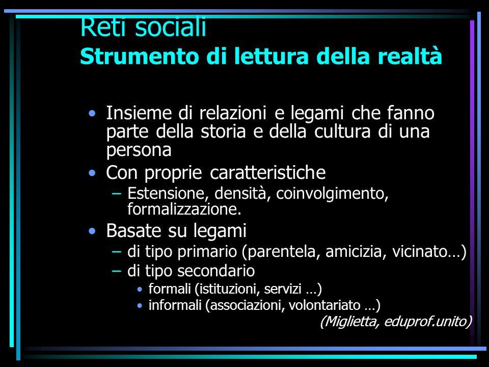 Reti sociali Strumento di lettura della realtà Insieme di relazioni e legami che fanno parte della storia e della cultura di una persona Con proprie c