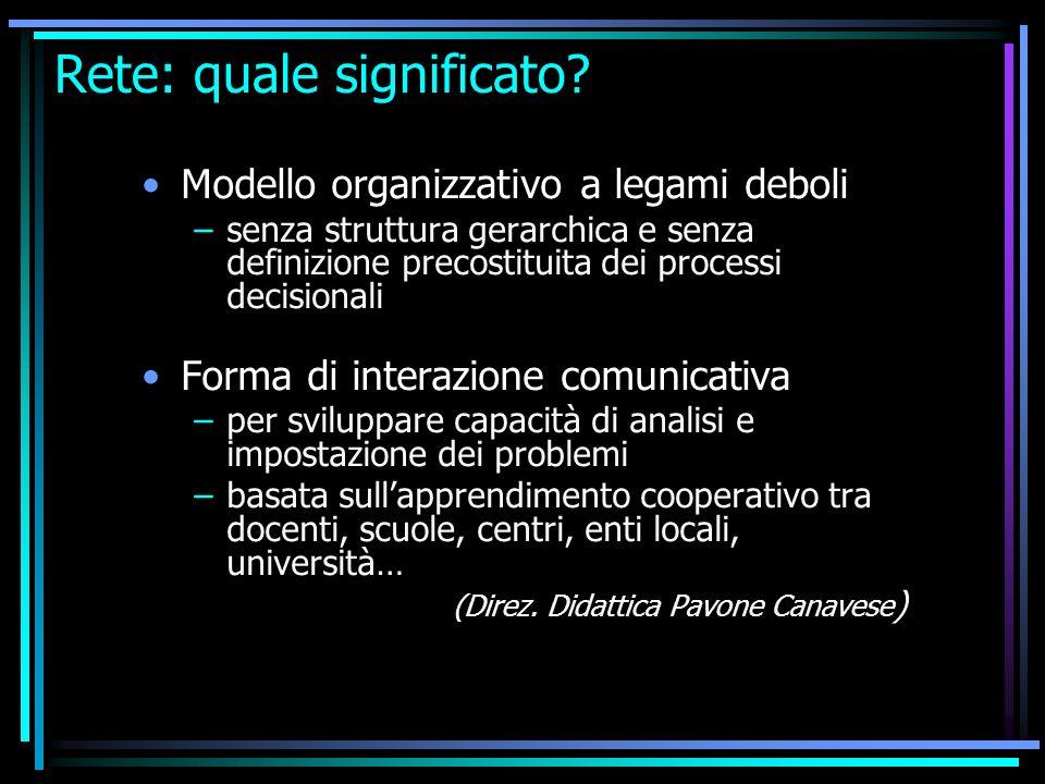 Rete: quale significato? Modello organizzativo a legami deboli –senza struttura gerarchica e senza definizione precostituita dei processi decisionali