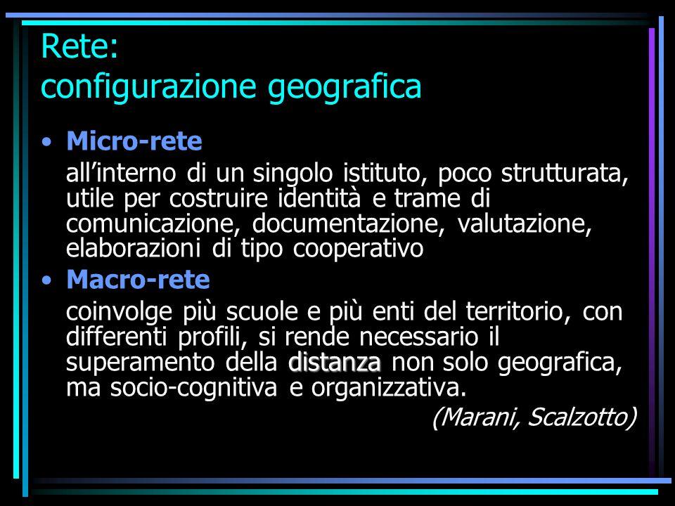 Rete: configurazione geografica Micro-rete allinterno di un singolo istituto, poco strutturata, utile per costruire identità e trame di comunicazione,