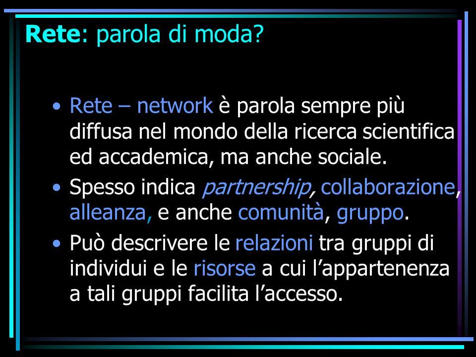Rete: parola di moda? Rete – network è parola sempre più diffusa nel mondo della ricerca scientifica ed accademica, ma anche sociale. Spesso indica pa