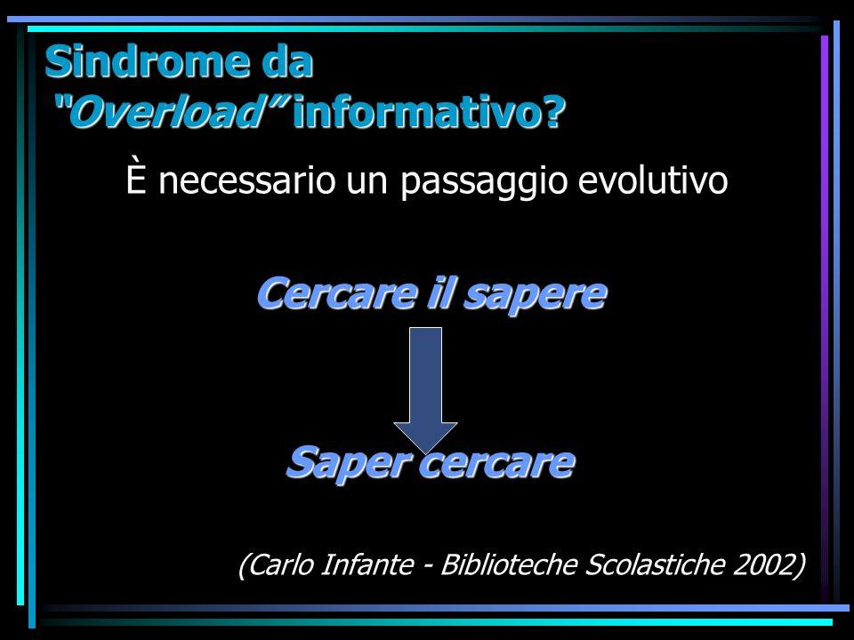 Sindrome da Overload informativo? È necessario un passaggio evolutivo Cercare il sapere Saper cercare (Carlo Infante - Biblioteche Scolastiche 2002)
