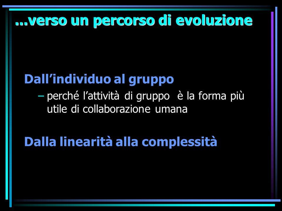 ...verso un percorso di evoluzione Dallindividuo al gruppo –perché lattività di gruppo è la forma più utile di collaborazione umana Dalla linearità al