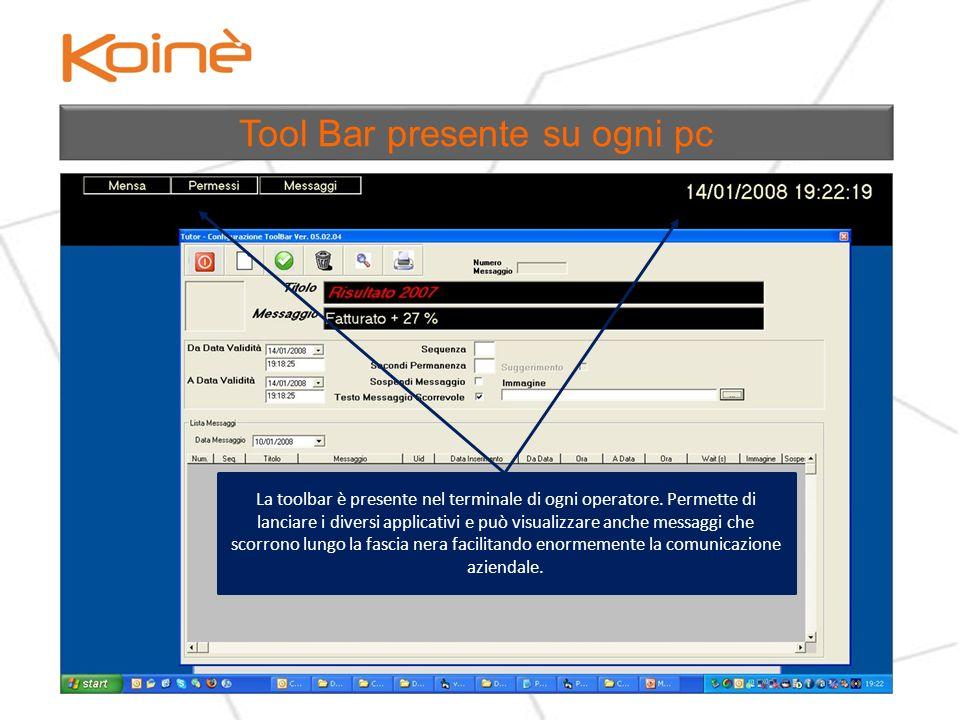 Tool Bar presente su ogni pc La toolbar è presente nel terminale di ogni operatore.