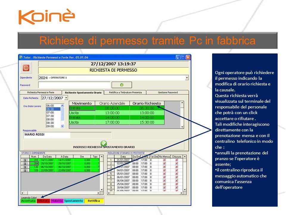 Richieste di permesso tramite Pc in fabbrica Ogni operatore può richiedere il permesso indicando la modifica di orario richiesta e la causale.