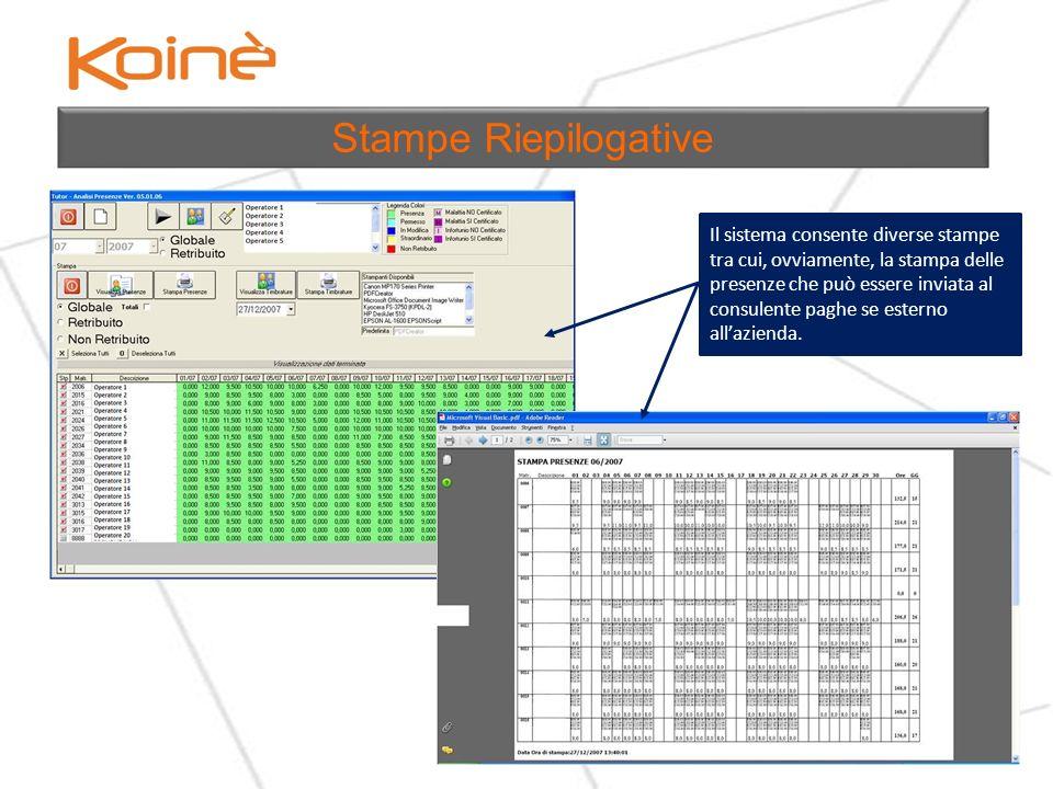 Il sistema permette la pianificazione del calendario di ferie, riduzioni di orario e permette di stampare una comunicazione interna da distribuire a tutti gli operatori interessati.