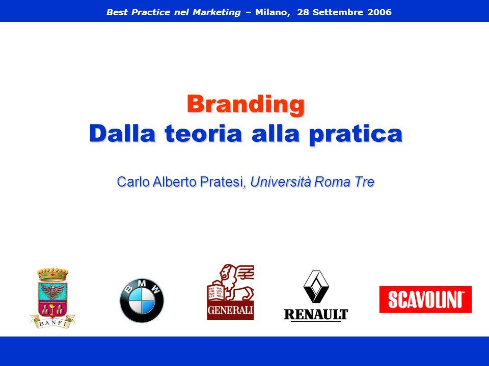Branding Dalla teoria alla pratica Carlo Alberto Pratesi, Università Roma Tre Best Practice nel Marketing – Milano, 28 Settembre 2006