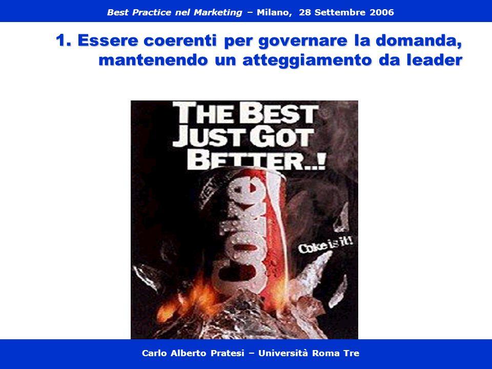 1. Essere coerenti per governare la domanda, mantenendo un atteggiamento da leader Carlo Alberto Pratesi – Università Roma Tre Best Practice nel Marke