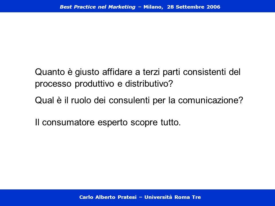 Carlo Alberto Pratesi – Università Roma Tre Quanto è giusto affidare a terzi parti consistenti del processo produttivo e distributivo? Qual è il ruolo