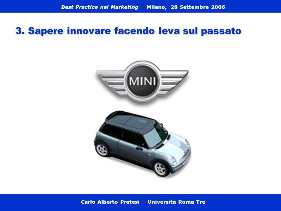 3. Sapere innovare facendo leva sul passato Carlo Alberto Pratesi – Università Roma Tre Best Practice nel Marketing – Milano, 28 Settembre 2006
