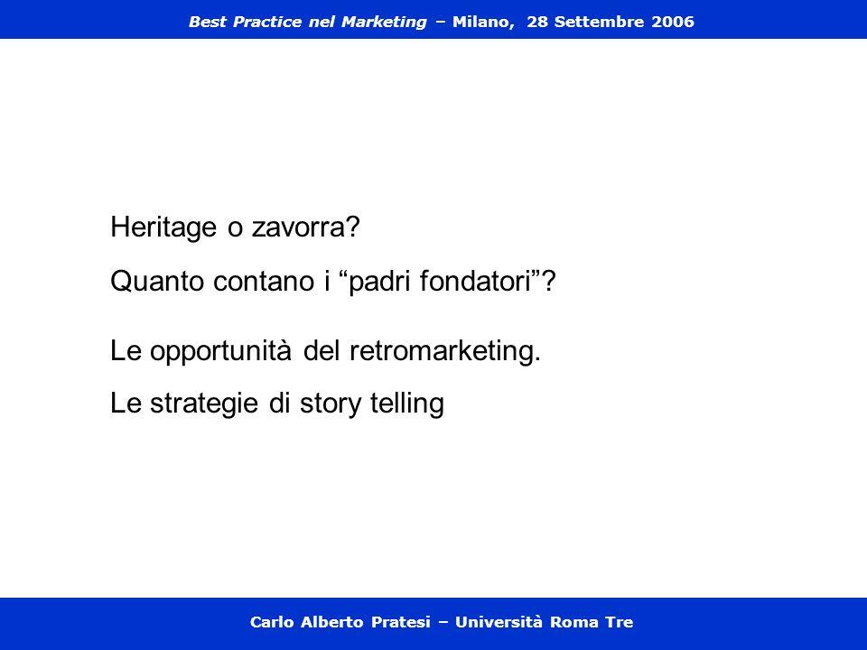 Carlo Alberto Pratesi – Università Roma Tre Heritage o zavorra? Quanto contano i padri fondatori? Le opportunità del retromarketing. Le strategie di s