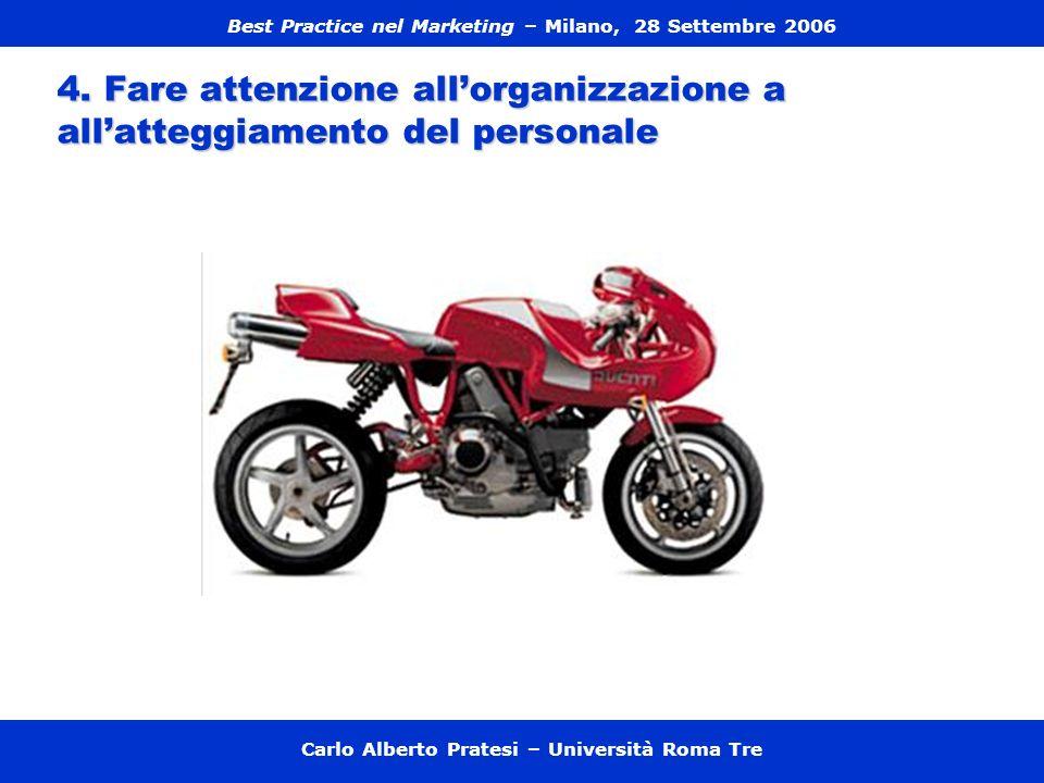 4. Fare attenzione allorganizzazione a allatteggiamento del personale Carlo Alberto Pratesi – Università Roma Tre Best Practice nel Marketing – Milano