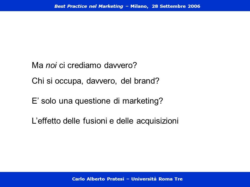 Carlo Alberto Pratesi – Università Roma Tre Ma noi ci crediamo davvero? Chi si occupa, davvero, del brand? E solo una questione di marketing? Leffetto