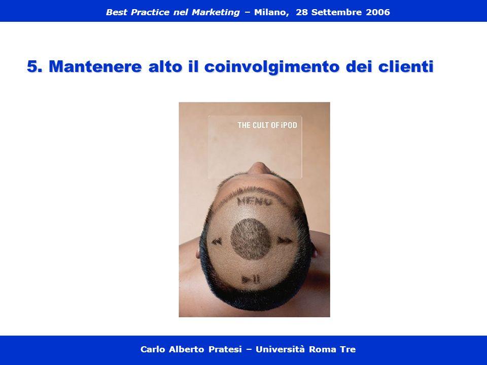 5. Mantenere alto il coinvolgimento dei clienti Carlo Alberto Pratesi – Università Roma Tre Best Practice nel Marketing – Milano, 28 Settembre 2006