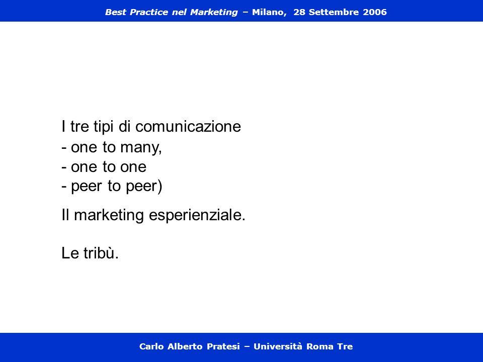 Carlo Alberto Pratesi – Università Roma Tre I tre tipi di comunicazione - one to many, - one to one - peer to peer) Il marketing esperienziale. Le tri