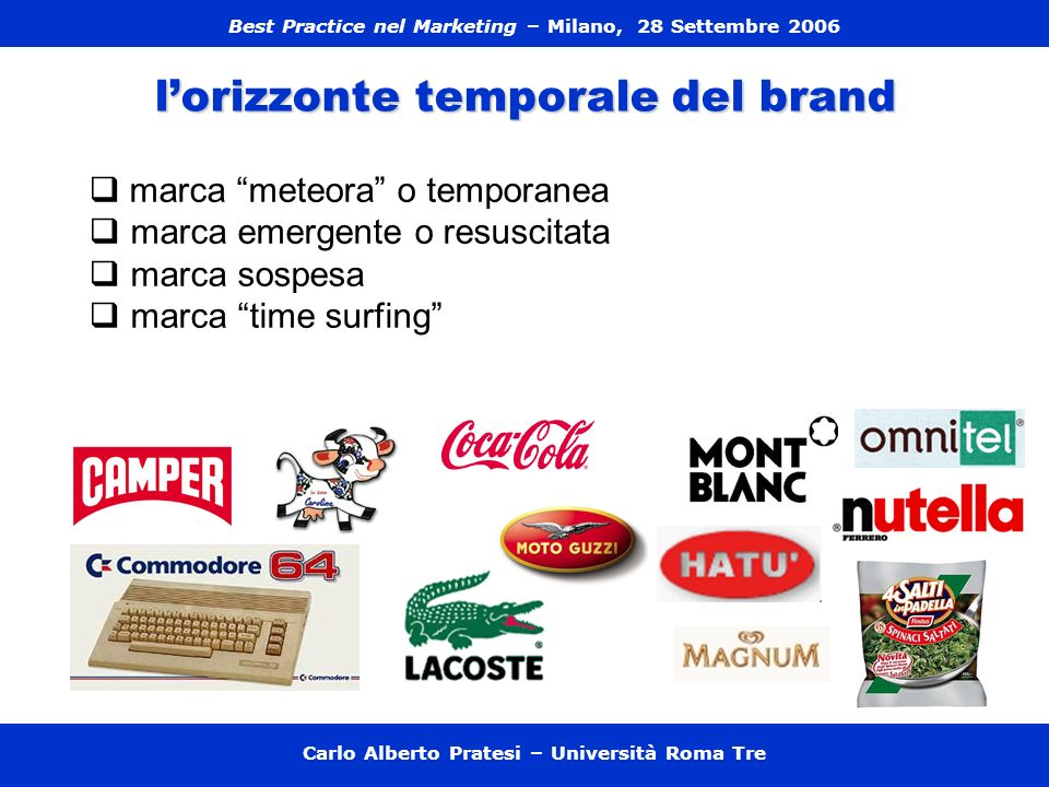 Carlo Alberto Pratesi – Università Roma Tre I tre tipi di comunicazione - one to many, - one to one - peer to peer) Il marketing esperienziale.